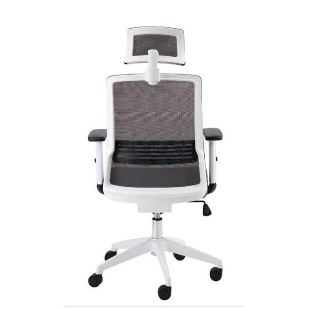 Cadeira Escritório Giratória Presidente com Encosto de Cabeça Branca