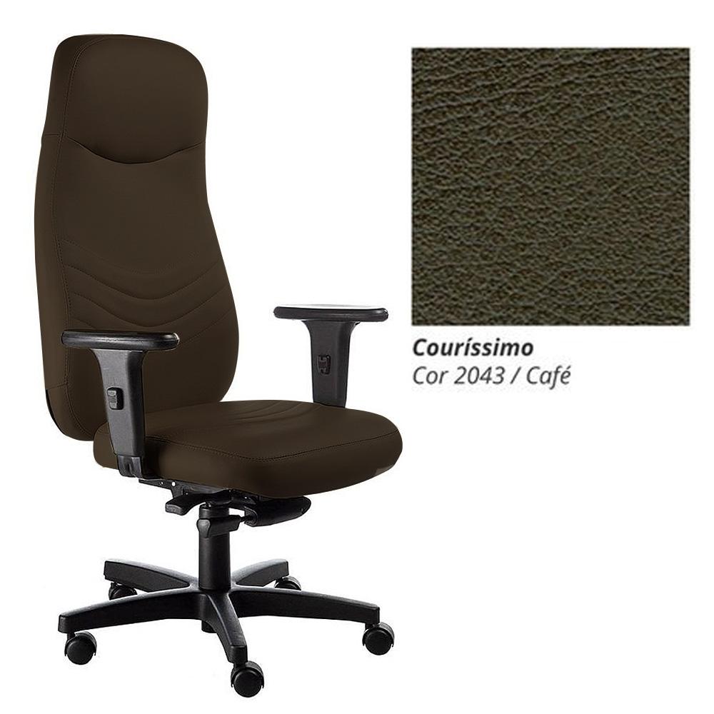 Cadeira Escritório Giratória Presidente Com Encosto de Cabeça e Braços Reguláveis