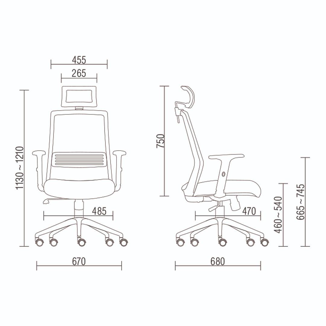 Cadeira Escritório Giratória Presidente com Encosto de Cabeça Preto Regulagem do Assento