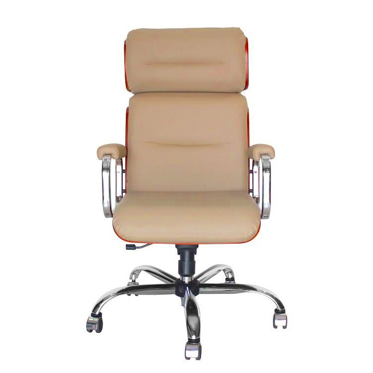Cadeira Escritório Giratória  Presidente Cromada  em Madeira