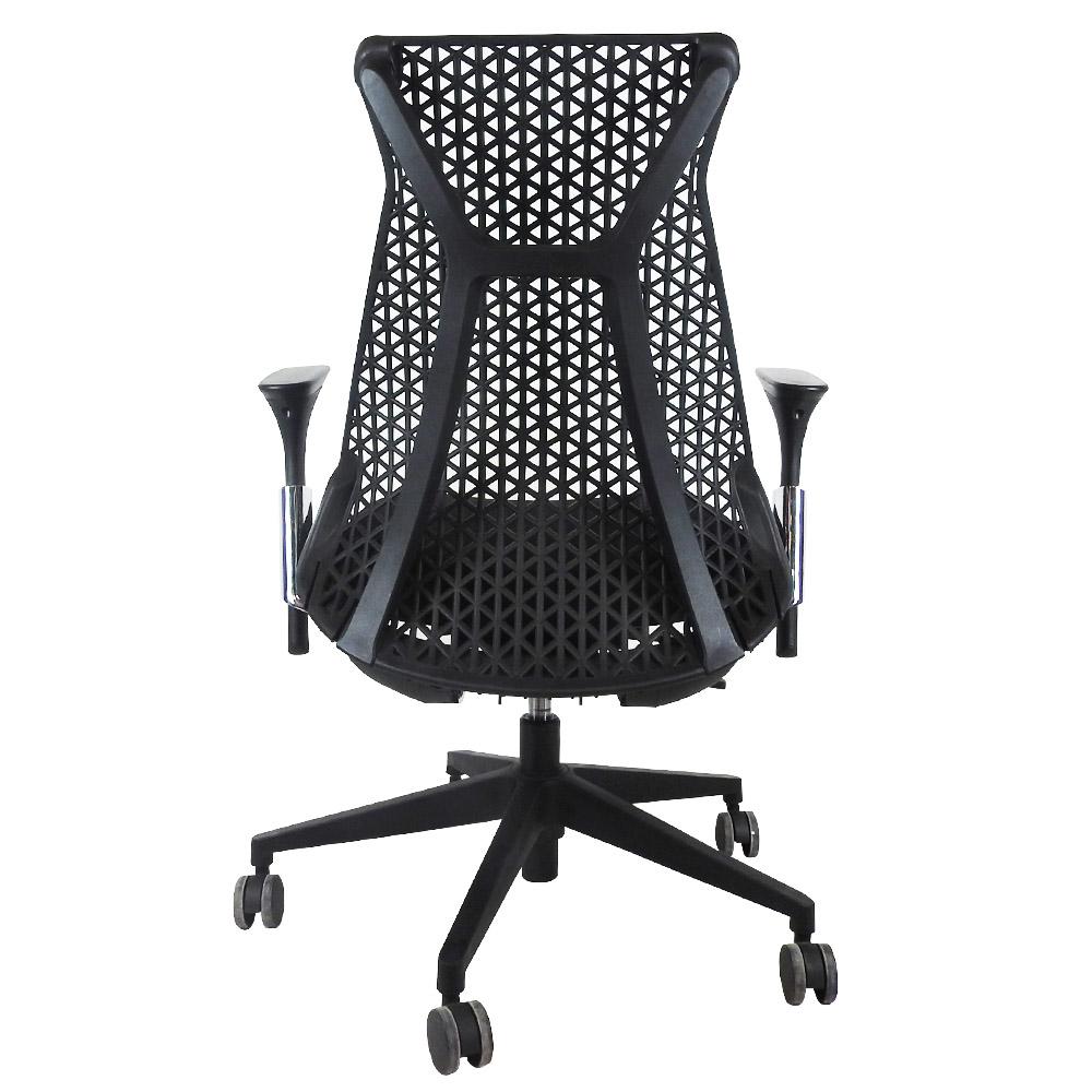 Cadeira Escritório Giratória Presidente Encosto em Tela Braços Regulavéis Preta