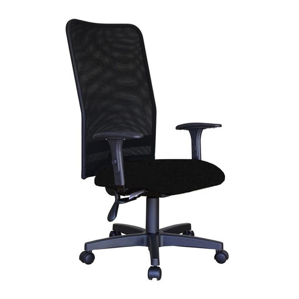 Cadeira Escritório Giratória Presidente Encosto em Tela Relax Braços Reguláveis