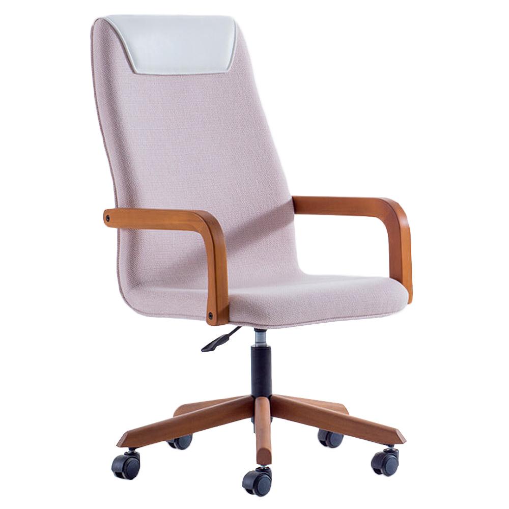 Cadeira Escritório Giratória Presidente Estofado Estrutura em Madeira Braços Fixos