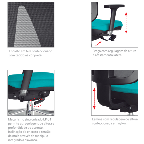 Cadeira Uni Office Escritório Diretor Braços Reguláveis Tecido Crepe