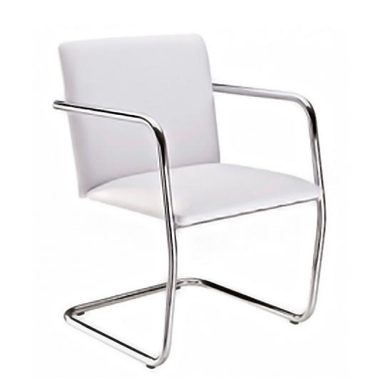 Cadeira Fixa de Escritório Estofada Estrutura Cromada