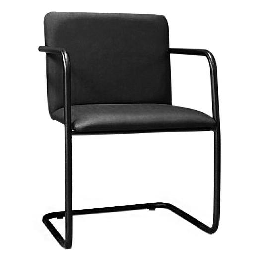 Cadeira Fixa de Escritório Estofada Estrutura Preta