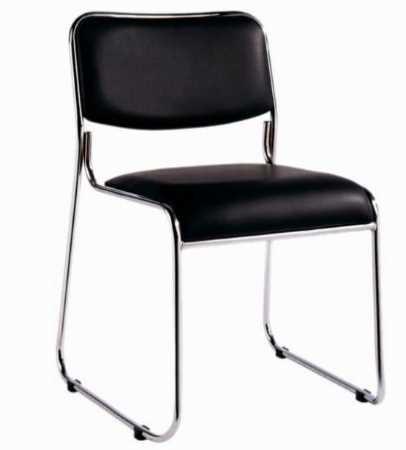 Cadeira Fixa de Escritório Estofada Preto