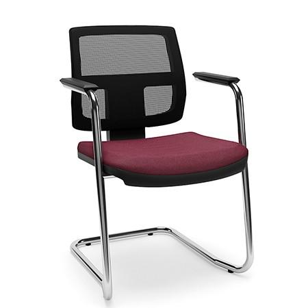 Cadeira Fixa de Escritório Executiva Cromado Encosto em Tela
