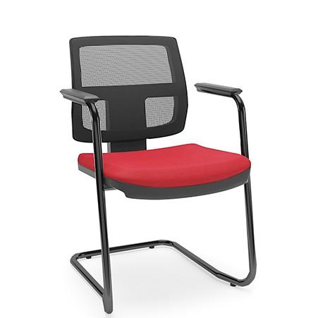 Cadeira Fixa de Escritório Executiva Preto Encosto em Tela