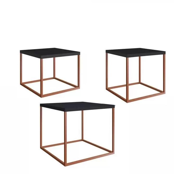 Conjunto 3 Mesas Cube em Metal