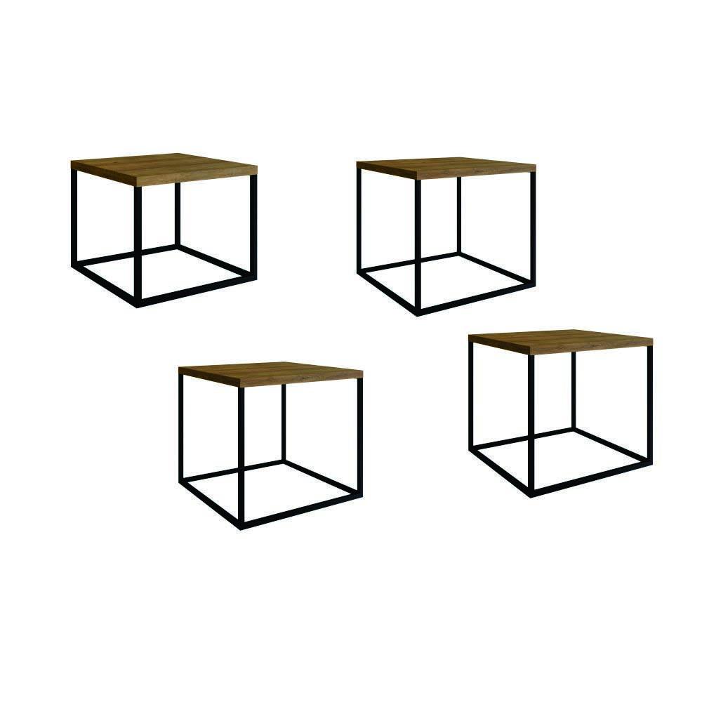 Conjunto 4 Mesas Cube em Metal
