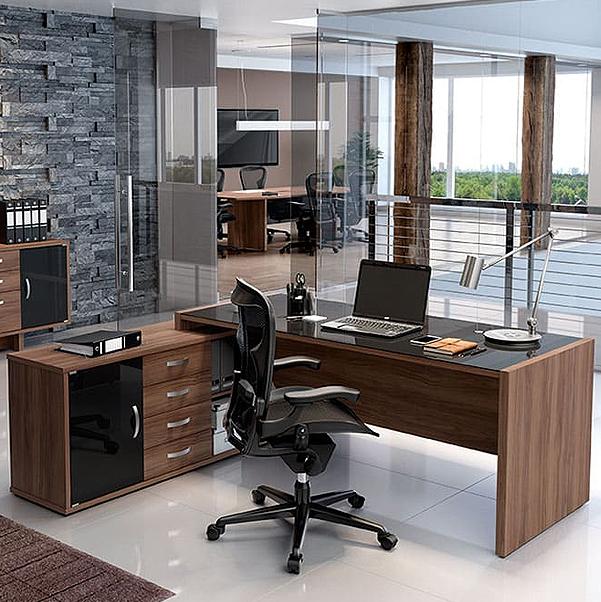 Mesa Escritório Credenza Tampo de Vidro com 3 Gavetas 1800x800