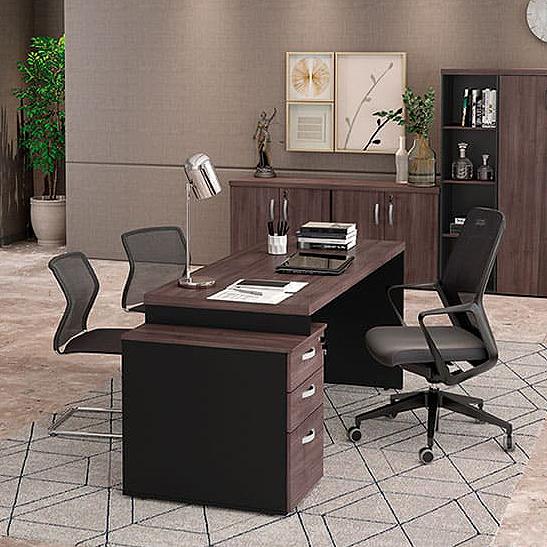 Mesa Escritório Reta Pedestal 40mm Com 3 Gavetas 1700 X 700