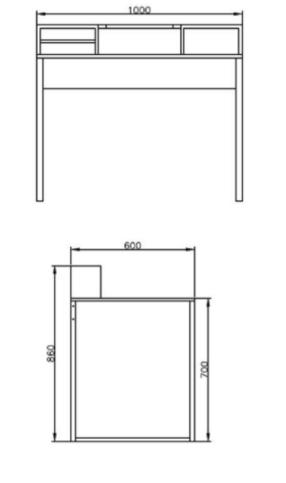 Mesa Escrivaninha Industrial Aberta