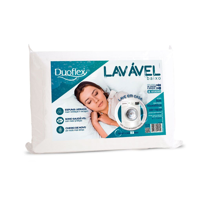 Travesseiro Duoflex Lavável Baixo 45x65x8