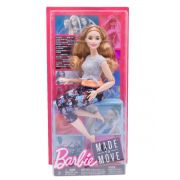 Boneca Barbie  Feita para Mexer  Aula de Yoga Blusa Cinza e Rosa - Mattel