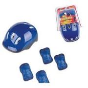 Kit Proteção Capacete Azul Com Joelheiras e Cotoveleiras Ajustável Fenix