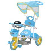Triciclo Infantil 2 em 1 com Haste e Pedal Azul