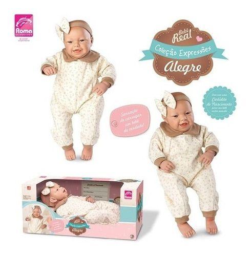 Boneca Bebê Real Expressões - Alegria - Com Certidão