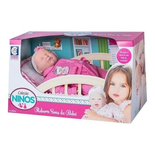 Boneca Coleção Ninos Reborn Dormindo - Cotiplás