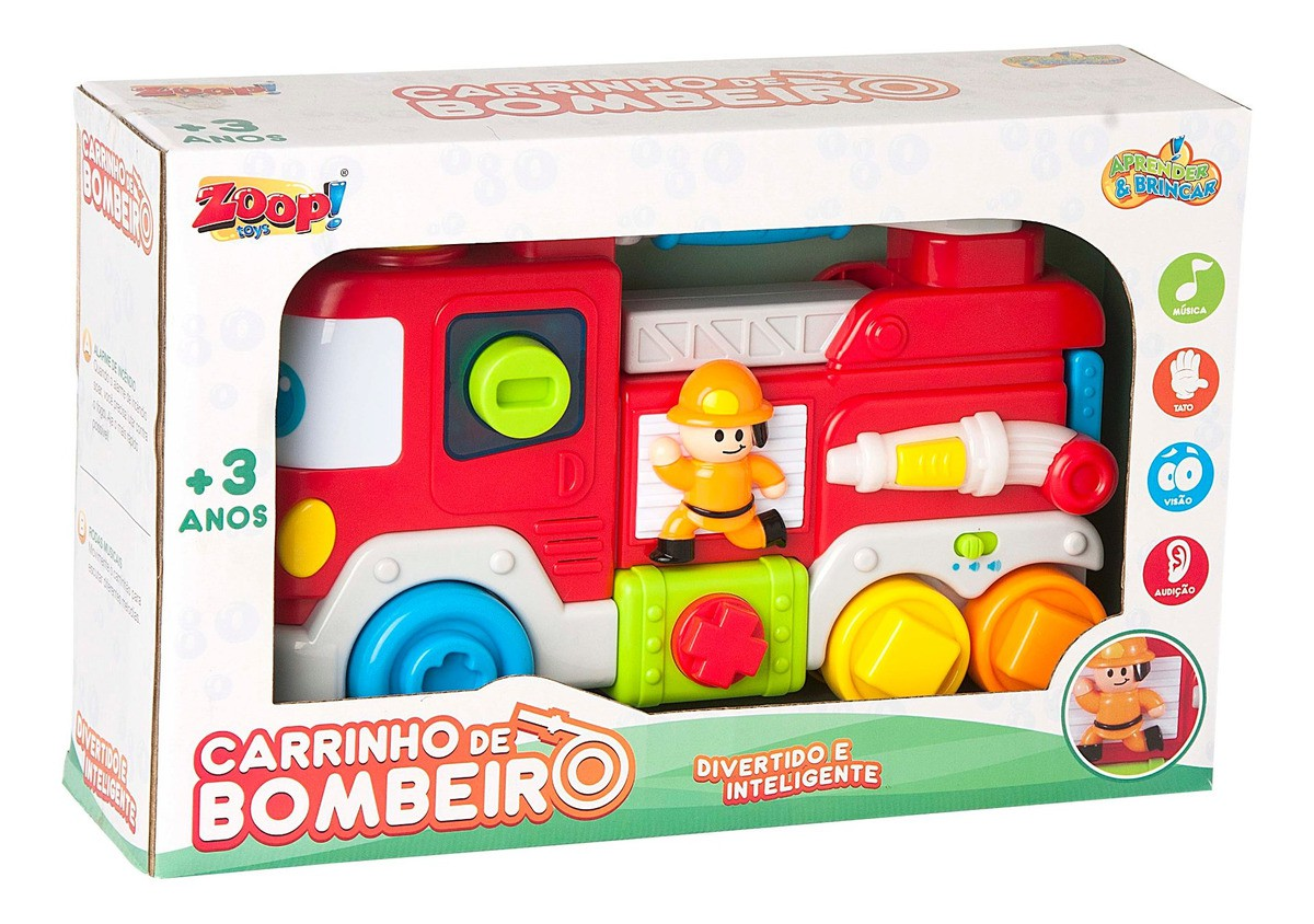 Carrinho De Bombeiro Com Som E Luz Zoop Toys