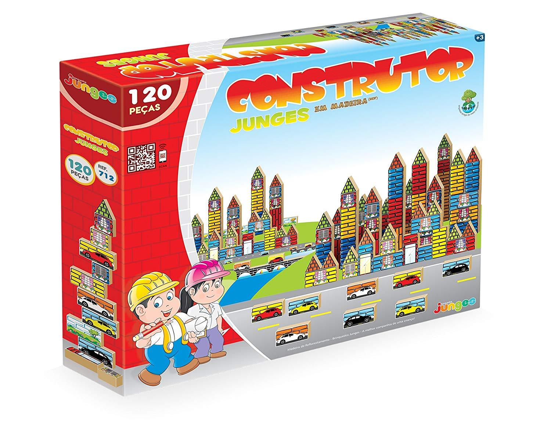 Jogo Construtor com 120 Peças em Madeira