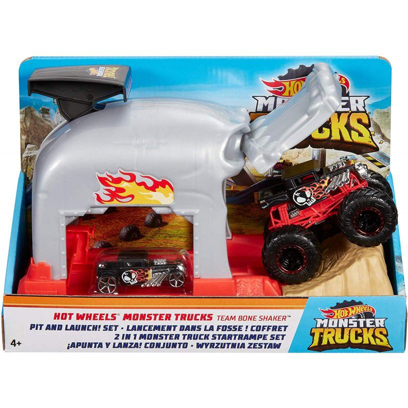 Lançador e Mini Veículo - Hot Wheels - Monster Trucks