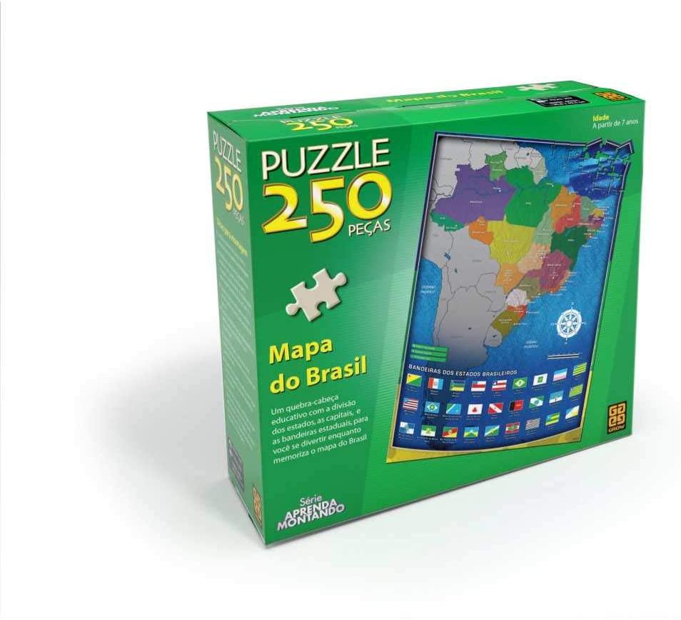 Quebra-Cabeça Mapa do Brasil - 250 peças