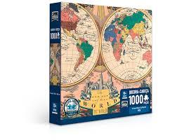 Quebra Cabeça Novo Mapa do Mundo 1000 Peças