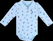 Body Longo Kiko Baby Azul Com Gola Polo
