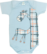 Body Manga Curta Girafinha Azul Petutinha