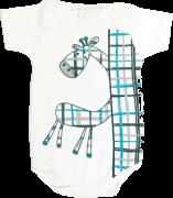 Body Manga Curta Girafinha Branco Petutinha