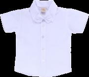 Camisa de Batizado Lisa com Gravata Borboleta Branca