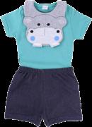 Conjunto Baby Gijo Hipopótamo Body Curto + Short + Babador