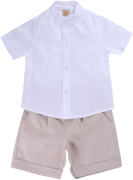 Conjunto Batizado Camisa Básica e Bermuda Sarja