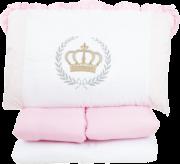 Kit Berço Bordado Imperial Rosa 07 Peças