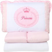 Kit Berço Bordado Princesa Rosa 07 Peças