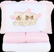 Kit Berço Bordado Ursas Balões Rosa 07 Peças