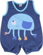 Macacão Banho De Sol Meia Malha Smoby Baby Silk Azul Polvo Menino