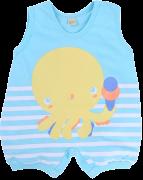 Macacão Banho De Sol Smoby Baby Listrado Silk Azul Água Polvinho Menino