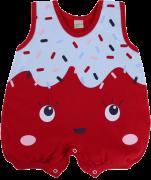 Macacão Banho De Sol Smoby Baby Meia Malha Silk Sorvete Vermelho Para Menina