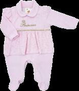 Macacão Longo Plush Princess Rosa Sininho Baby