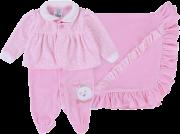 Saída De Maternidade Baby Gijo Plush Macacão Longo Rosa + Manta