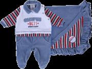 Saída De Maternidade Plush Azul Baby Gijo Macacão Longo E Manta