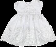 Vestido Batizado com Renda e Pérolas Branco