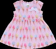 Vestido Bebê Pulla Bulla Estampa Sorvete Rosa