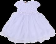 Vestido para Batizado com Detalhe Tule e Renda Branco
