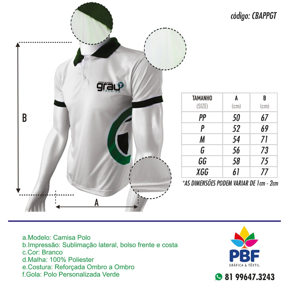 Camisas Polo Aluno em sublimação - Grau Técnico   - PBF GRAFICA E TEXTIL LTDA