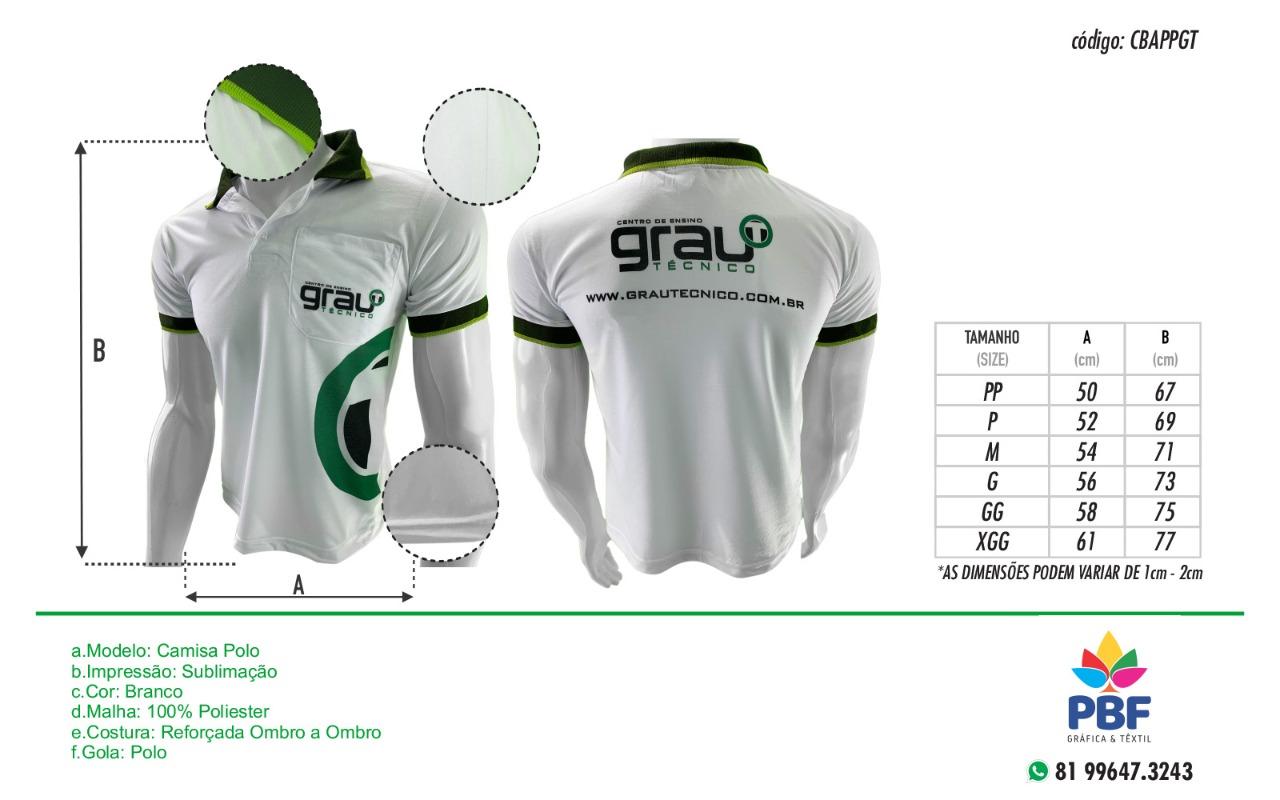 Camisas Polo Funcionário em sublimação - Grau Técnico  - PBF GRAFICA E TEXTIL LTDA
