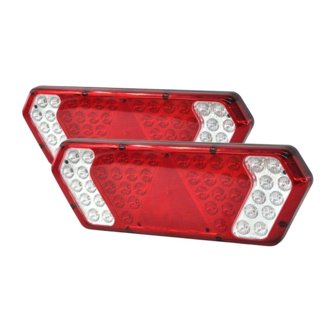 Par de Lanternas Traseira Guerra LED Vermelha Colmeia  - Lantersul